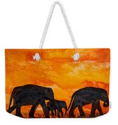 Elephants At Sunset Weekender Tote Bag