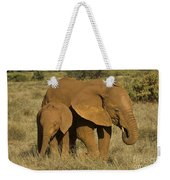 Elephants Covered In Red Dust Weekender Tote Bag by John Shaw