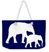 Elephants In Navy And White Weekender Tote Bag