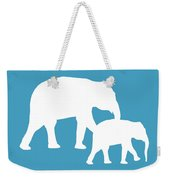 Elephants In White And Turquoise Weekender Tote Bag