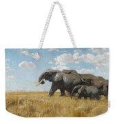 Elephants On The Move Weekender Tote Bag