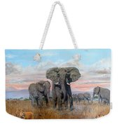 Elephants Warning To The Lions Weekender Tote Bag