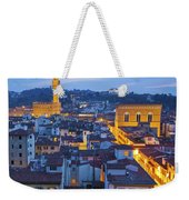 Elevated Night View Of Central Florence Weekender Tote Bag