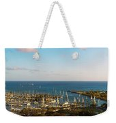 Elevated View Of Boats At A Harbor Weekender Tote Bag
