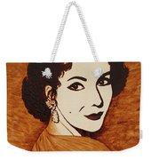 Elizabeth Taylor Original Coffee Painting On Paper Weekender Tote Bag