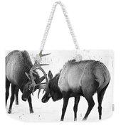 Elk Fighting Black And White Weekender Tote Bag