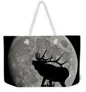 Elk Silhouette On Moon Weekender Tote Bag