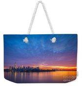 Ellis Island And Manhattan Sunrise Weekender Tote Bag