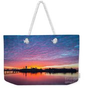 Ellis Island Silhouette Sunrise Weekender Tote Bag