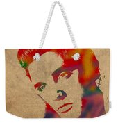 Elvis Presley Watercolor Portrait On Worn Distressed Canvas Weekender Tote Bag