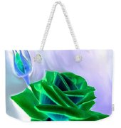 Emerald Rose Watercolor Weekender Tote Bag