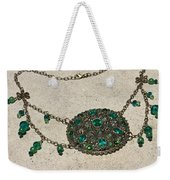 Emerald Vintage New England Glass Works Brooch Necklace 3632 Weekender Tote Bag