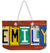 Emily License Plate Name Sign Fun Kid Room Decor Weekender Tote Bag