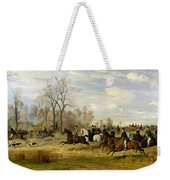 Emperor Franz Joseph I Of Austria Hunting To Hounds With The Countess Larisch In Silesia Weekender Tote Bag by Emil Adam