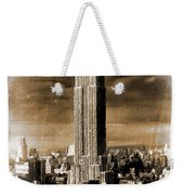 Empire State Building Blimp Docking Sepia Weekender Tote Bag