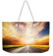 Empty Asphalt Road. Sunset Sky Weekender Tote Bag