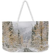 Empty Road Passing Through A Forest Weekender Tote Bag