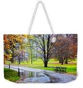 Empty Walkway On A Beautiful Rainy Autumn Day Weekender Tote Bag
