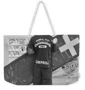 End Of The Day - Black And White Weekender Tote Bag