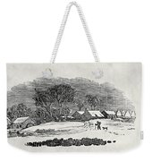 Endpiece, Late 18th Or Early 19th Century Wood Engraving 99;landscape; Winter; Figure; Snow; Snowy; Weekender Tote Bag