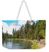 Enjoying Des Chutes River In Des Chutes Nf-or Weekender Tote Bag
