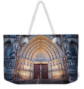 Entrance To The Barcelona Cathedral At Night Weekender Tote Bag