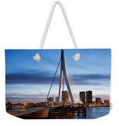 Erasmus Bridge And City Skyline Of Rotterdam At Dusk Weekender Tote Bag