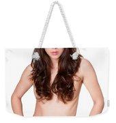 Erotic Nude Brunette Weekender Tote Bag