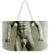 Eugen Sandow In Classical Ancient Greco Roman Pose Weekender Tote Bag by American Photographer