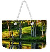 Evening Birches Painted Weekender Tote Bag