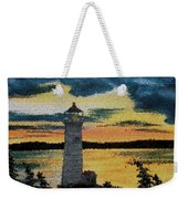 Evening Lighthouse In Stained Glass Weekender Tote Bag
