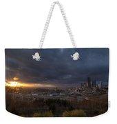 Evening Sunlit Seattle Skyline Weekender Tote Bag