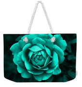 Evening Teal Rose Flower Weekender Tote Bag