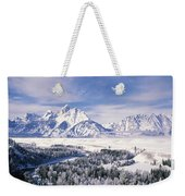 Evergreen Trees On A Snow Covered Weekender Tote Bag