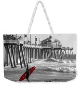 Existential Surfing At Huntington Beach Selective Color Weekender Tote Bag