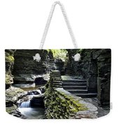 Exiting Watkins Glen Gorge Weekender Tote Bag by Frozen in Time Fine Art Photography