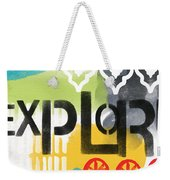Explore- Contemporary Abstract Art Weekender Tote Bag by Linda Woods