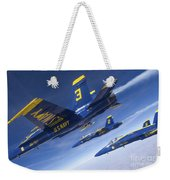 Fa-18 Hornets Of The Blue Angels Fly Weekender Tote Bag