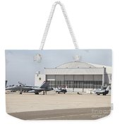Fa-18 Hornets On The Flight Line Weekender Tote Bag