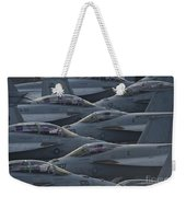 Fa18 Super Hornets Sit On The Flight Deck Of The Aircraft Carrier Uss Enterprise  Weekender Tote Bag by Paul Fearn