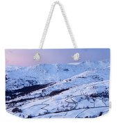 Fairfield Covered In Snow At Sunset Weekender Tote Bag