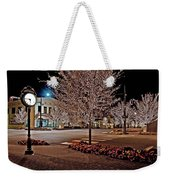 Fairhope Ave With Clock Night Image Weekender Tote Bag