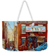 Fairmount Bagel In Winter Montreal City Scene Weekender Tote Bag