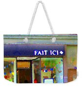 Fait Ici Organic General Store Notre Dame Corner Charlevoix St Henri Shops City Scene Carole Spandau Weekender Tote Bag