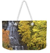 Fall Color Surrounds Chapel Falls On The Michigan Upper Peninsula Weekender Tote Bag