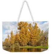 Fall Colors Clouds And Western Gulls Reflected In A Pond Weekender Tote Bag
