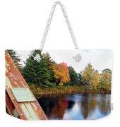 Fall Landscape Old Bridge Maine Weekender Tote Bag