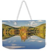 Fall Landscape On Flying Pond In Vienna Maine Weekender Tote Bag
