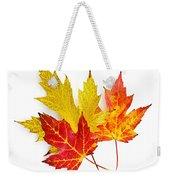 Fall Maple Leaves On White Weekender Tote Bag