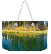 Fall Sky Mirrored On Calm Clear Taiga Wetland Pond Weekender Tote Bag